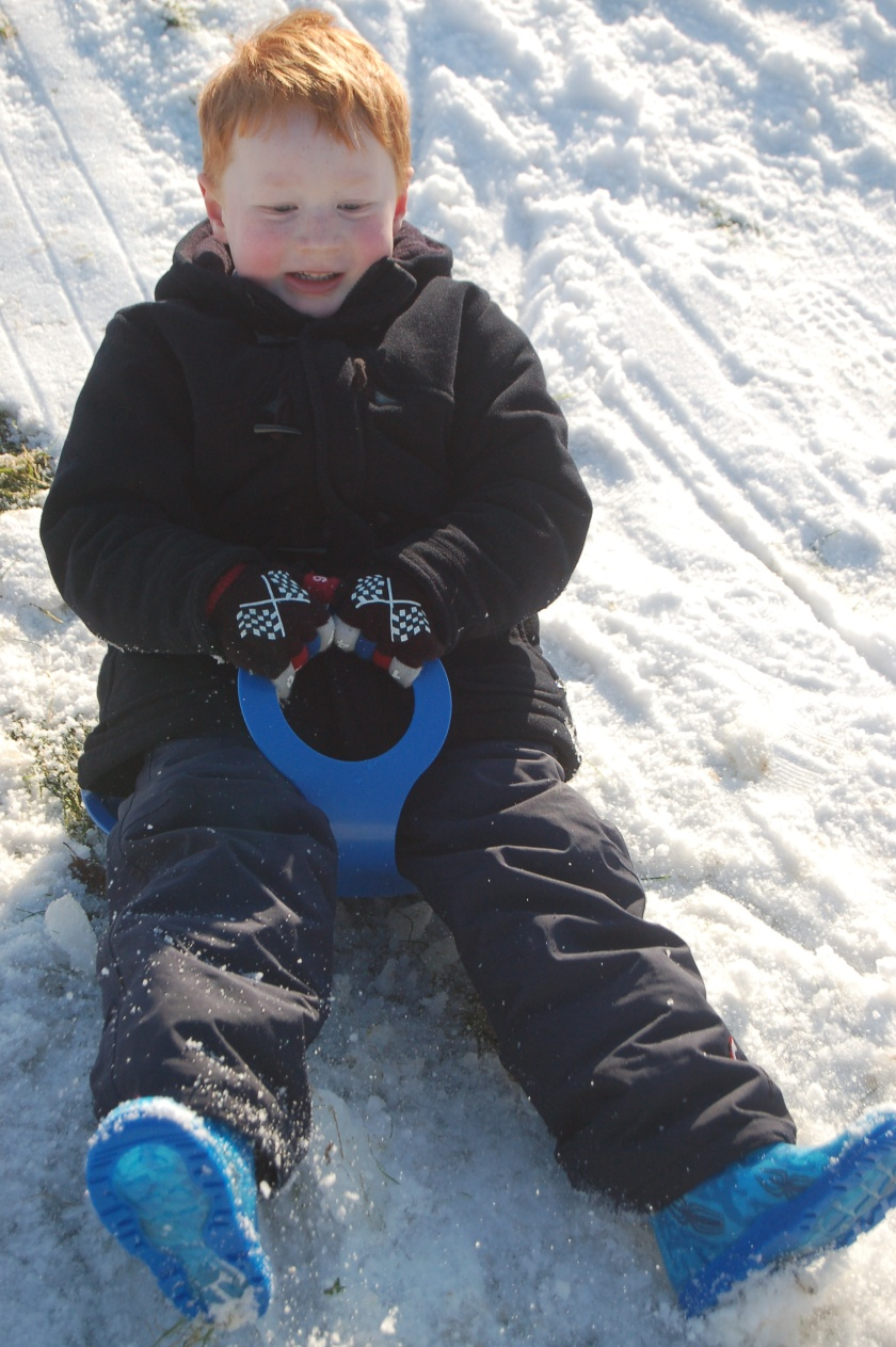 Mark on his sledge tray, 3rd February 2009