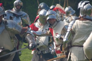 Fighting between Yorkists and Lancastrians in battle re-enactment