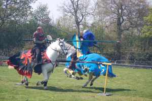 Sir Odious the Black Knight and his Swedish counterpart in the joust