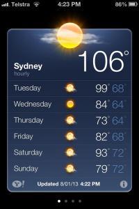 Sydney Temperatures 130108