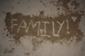 Rebekah's sand art with the word 'family'